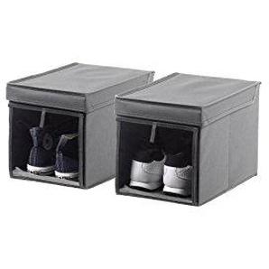 2er Set Schuhboxen in anthrazit