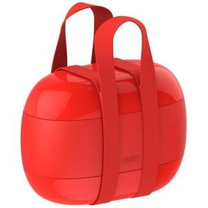 Alessi Designer Lunch Box Food a Porter, Bonto-Box, 3 Schalen Frischhaltebox, rot
