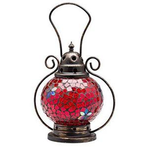 Windlicht Laterne Lampe Teelicht Garten Terasse Haus Glas Buntglas rot 20cm