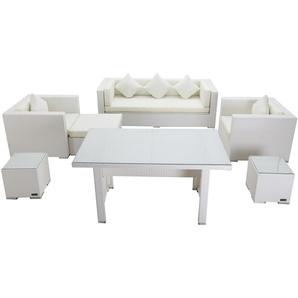 OUTFLEXX Loungemöbel-Set, weiß, Polyrattan, für 6 Personen, inkl. Esstisch, wasserfeste Kissenbox