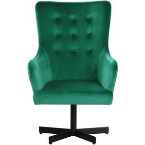 Samtstoff Sessel in Grün Retro Design