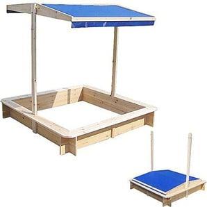 Melko Sandkasten Sandbox Sandkiste mit verstellbarem Dach aus Holz, 120 x 120 x 120 cm, blau