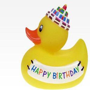 2 Stück Quietsche Ente Happy Birthday,Geburtstags Badeente