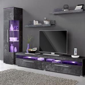 Wohnwand, schwarz, pflegeleichte Oberfläche, FSC®-zertifiziert
