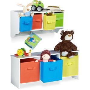 2 tlg. Kindermöbel Set ALBUS, Wandregal für Kinder, Sitzbank mit Stauraum, Wandgarderobe 4 Kleiderhaken, Faltbox, weiß - RELAXDAYS