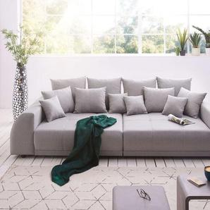 Big-Sofa Violetta 310x135 cm Grau abgesteppt mit Kissen, Big Sofas