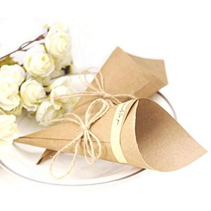 JZK 50 Rustikal DIY Kraftpapier Naturkarton Kraftkarton Gastgeschenk Schachtel Hochzeit Geschenkbox Party Favors Box für Süßigkeiten Konfetti Bonbons Schokolade Schmuck