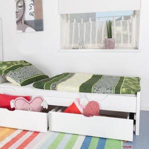 Einzelbett / Funktionsbett Easy Premium Line K1/ Voll inkl 2 Schubladen und 2 Abdeckblenden, 90 x 200 cm Buche Vollholz massiv weiß lackiert