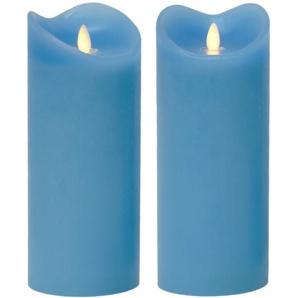 LED-Echtwachskerze Blau, 23cm, 30833 - TRONJE