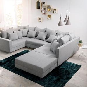 Wohnlandschaft Clovis Grau Flachgewebe Hocker Armlehne Modulsofa, Design Wohnlandschaften, Couch Loft, Modulsofa, modular