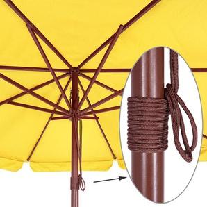 Deuba Sonnenschirm Holz UV-Schutz 40+ Ø 330cm Gelb