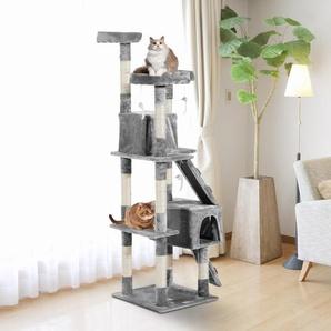 PawHut® Katzenkratzbaum Katzenbaum Kratzbaum Kletterbaum Sisal Treppe Beige Grau 170 cm
