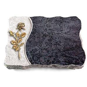 MEMORUM Grabmale Grabplatte, Grabstein, Grabkissen, Urnengrabstein, Liegegrabstein Modell Wave 40 x 30 x 5 cm Orion-Granit, Poliert inkl. Gravur (Bronze-Ornament Rose 13)