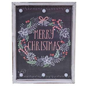 Mendler LED-Bulb Bild Leuchtbild, Shabby-Look Vintage 40x30cm, Merry Christmas