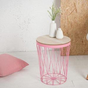 Design Beistelltisch STORAGE II 37cm rosa Eiche Aufbewahrungskorb Couchtisch