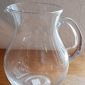 Oberstdorfer Glashütte Krug dekorativer großer klarer Glaskrug mit Henkel für Wasser, Saft oder Blumenkrug Inhalt 2,0 Liter klar Höhe ca. 22 cm
