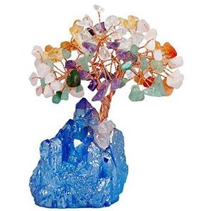 mookaitedecor Quarzstein Kristallbaum mit elektroplattiertem Buntem Quarz als Basis und bewickeln mit Kupferdraht, schönes Symbol für Reichtum und Glück, ideales Geschenk für Familie Büro Dekoration