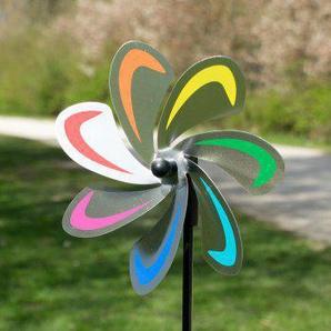 Edelstahl Windrad - Blume 20 Curve Rainbow - extrem wetterfest - Windrad: Ø20cm - inkl. 70cm Standstab und Bodendübel (Curve Rainbow)