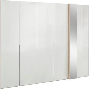 Drehtürenschrank in Weißglas mit Dekorfront und Spiegel, Breite 275 cm, »fontana«, FSC®-zertifiziert, set one by Musterring