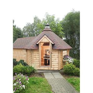 WOLFF FINNHAUS Grillkota »9 de luxe«, BxT: 426x630 cm, mit Sauna-Anbau und roten Schindeln