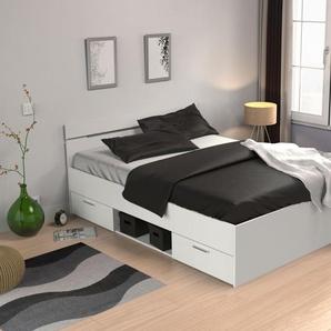 Jugendbett Damboa 05, Farbe: Weiß - Liegefläche: 140 x 200 cm (B x L)