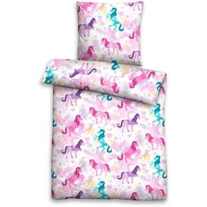 Biberna Kinderbettwäsche »Star Unicorn«, 40x60 cm, rosa