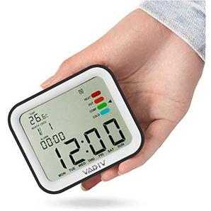 VADIV Digital Wecker, CL07 Mini Größe Stürzen zum Alarmstop Hintergrundbeleuchtung Display Temperatur mit Komfortanzeige, Snooze, Datum, Kalender, für Kinder, Teenager, Reise - Schwarz