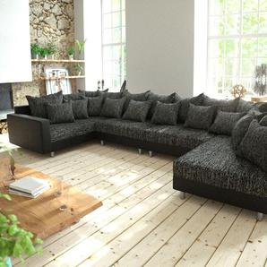 Wohnlandschaft Clovis XL Schwarz mit Armlehne modular, Design Wohnlandschaften, Couch Loft, Modulsofa, modular