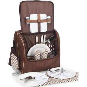 Brubaker Picknicktasche für 4 Personen Schultertasche mit Kühlfach