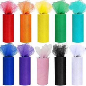 CozofLuv 10 DIY Rollen Tüll RolleTüllband Tüll Dekostoff Tischband Dekoband Tüllnetz 10 Farben für Hochzeit Party Bankett Rock Kleidung Deko Handwerk