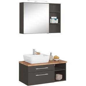 Badmöbel-Set mit Regal und Spiegelschrank , weiß, Becken links, »Davos«, Held Möbel