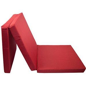 Zollner Klappmatratze Gästematratze faltbar, 69x195 cm, rot (weitere verfügbar) mit abnehmbaren Bezug
