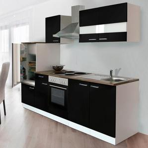 Respekta Küchenzeile KB270WS 270 cm Schwarz-Weiß