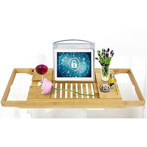 HENGMEI Bambus Badewannenablage ausziehbar Badewannenaufsatz Badewanne Tablett mit Buchstütze und Glashalter