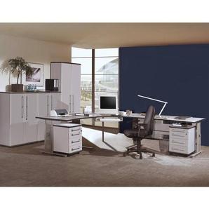 Büromöbel Set PRIFO-01 lichtgrau, Eckschreibtisch, 2 Rollcontainer, 3 Aktenschränke