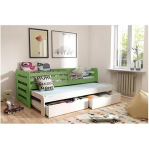 JUSTyou Kobi II Funktionsbett Jugendbett Kinderbett Einzelbett  Grün Weiß 90x188 cm