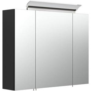 Spiegelschrank 80cm inkl. Design LED-Lampe und Glasböden schwarz seidenglanz