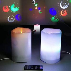 lzndeal Projektionslampe Flammenlose LED Kerze Batterie betrieben mit Candy Moon Projektion Fernbedienung