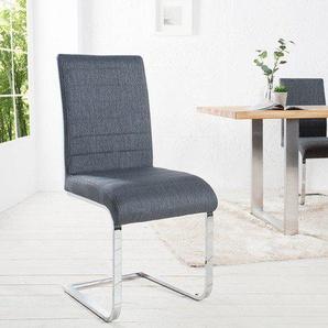 Moderner Freischwinger Stuhl STUART grau mit Ziersteppung