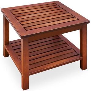 Beistelltisch aus Akazienholz vorgeölt 45x45x45cm Gartentisch Couchtisch Holztisch Tisch Holz - DEUBA