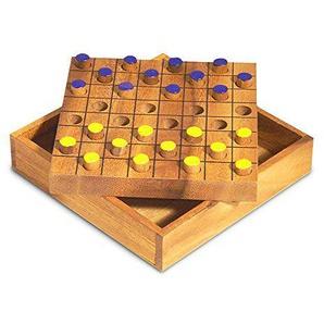 Gesellschaftsspiel Brettspiel Dame aus Holz natur braun, 14,5 x 14,5 x 3,5 cm, Denkspiel Strategiespiel Holzspiel, Geschenk Reisespiel