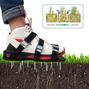 Rasenbelüfter Vertikutierer Nagel-Schuhe Rasen Universal Rasenlüfter 30*13 cm,ein Paar Rasen Belüfter Schuhe (8 PCS) + eine Reihe von Schrauben (26 PCS) + ein Schraubenschlüssel (Schwarz)