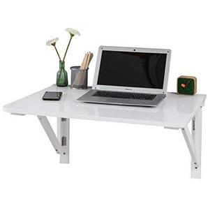 SoBuy FWT05-W Wandtisch, Esstisch, Wandklapptisch aus Holz, (O. Stühle), weiß, BT ca.: 75x60cm