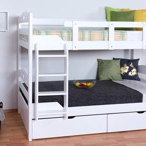 Stockbett für Erwachsene Easy Premium Line K10/n inkl. 2 Schubladen und 2 Abdeckblenden, Kopfteil mit Löchern, Buche Vollholz massiv Weiß - 90 x 200 cm, (L x B) teilbar