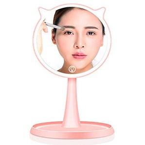 Generis LED Kosmetikspiegel Schminkspiegel - Tischspiegel Beleuchtet Cartoon Cat 45°- Drehung Einstellbar Beleuchtete Steuerung 24 LED Dimmbar Beleuchtete Beleuchtete Kosmetikspiegel(Rosa)