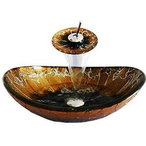 HomeLava Set aus Waschbecken aus Gehärtetes Glas mit Wasserfall-Wasserhahn