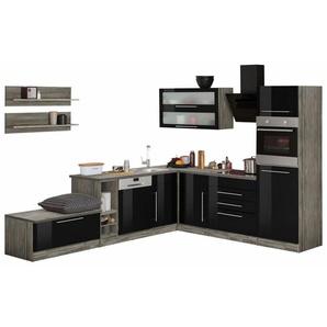 HELD MÖBEL Winkelküche »Samos«, ohne E-Geräte, Stellbreite 300 x 250 cm, schwarz