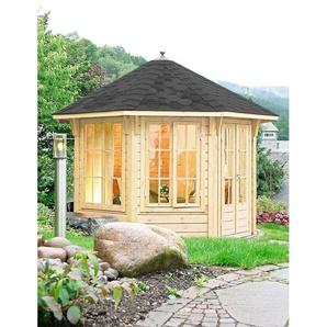 WOLFF FINNHAUS Holzpavillon »Capri 3.5«, BxT: 430x430 cm, mit schwarzen Schindeln