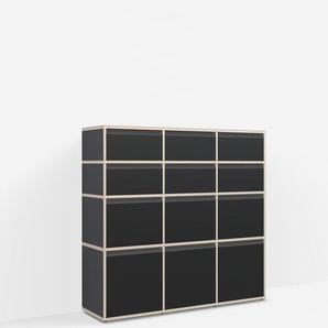 Konfigurierbare Kommode mit Schubladen. Aus Multiplexplatte in Schwarz.