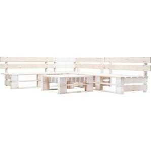 4-tlg. Garten-Paletten-Sofagarnitur Holz Weiß - VIDAXL